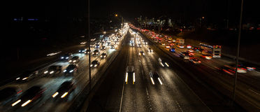 Seattle freeway traffic at rush hour Stock Photos