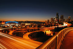 Seattle Freeways. A night shot of freeways and Seattle downtown at the background Stock Photo