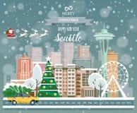 Seattle, glad jul och ett lyckligt nytt år! Royaltyfria Foton