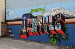 Seattle graffiti. Colorful Seattle graffiti in downtown Seattle, Washington state Royalty Free Stock Image