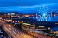Seattle Great Wheel, Seattle's Ferris Wheel at Pier 57 stock photo