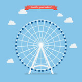 Seattle great wheel. vector illustration. Flat style design Royalty Free Stock Images