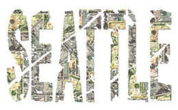 Seattle grunge text with dollars Stock Photography