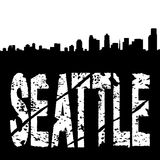 Seattle grunge text with skyline Stock Photo