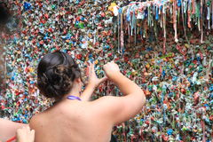 Seattle Gum Wall. One of the most offbeat attractions in the United States, the Seattle Gum Wall is also one of the most germ infected tourist spot in the world royalty free stock image