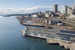 Seattle hamn från höjdpunkt upp Fotografering för Bildbyråer