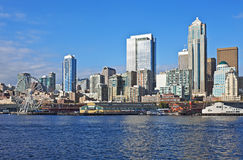 Seattle harbor with Ferris wheel Stock Photography