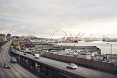 Seattle harbor panorama. Panorama of Seattle harbor and ships Stock Photo