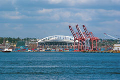 Seattle Harbor and Qwest Field on a sunny day. In summer Royalty Free Stock Photos