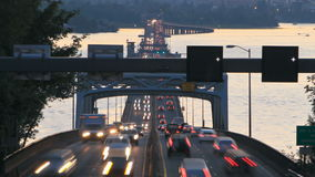 Seattle Highway 520 Traffic Time Lapse Bridge Dusk Pan stock video