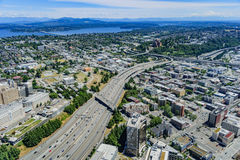 Seattle Highways. A highway running through Seattle from above on a clear day Stock Image