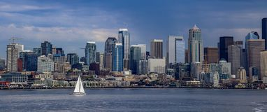 Seattle horisont och Puget Sound Royaltyfria Foton