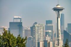 Seattle horisont som sett från Kerry Park, staten Washington, USA Arkivbild