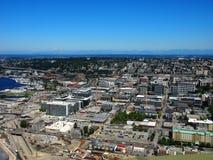 Seattle i stadens centrum flyg- sikt Fotografering för Bildbyråer