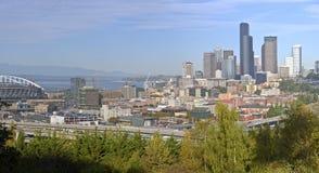 Seattle i stadens centrum panorama och modern byggnadshorisont Fotografering för Bildbyråer