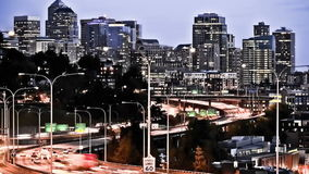Seattle I-5 Traffic Time Lapse Effect. V32. Seattle I-5 traffic time lapse in the early evening with a cool effect stock video