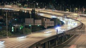 Seattle I-5 Traffic Time Lapse Night. V21. Seattle I-5 traffic time lapse at night stock video