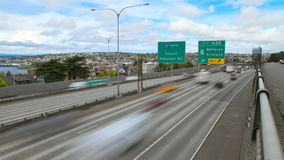 Seattle I-5 Traffic Time Lapse. V11. Time lapse clip of Seattle I-5 freeway heading north stock video footage