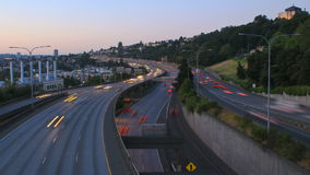 Seattle I-5 Traffic Time Lapse. V17. Seattle I-5 traffic time lapse after sunset stock footage