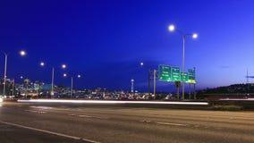 Seattle I-5 Traffic Time Lapse Zoom. V38. Seattle I-5 traffic time lapse clip and zooming out stock video footage