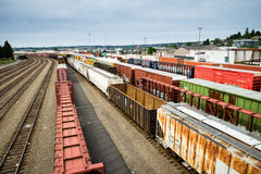 Seattle Interbay train yard box cars waiting for a load Stock Image