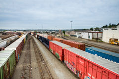 Seattle Interbay train yard empty tracks between cars Stock Photography