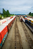 Seattle Interbay train yard on the tracks Royalty Free Stock Images