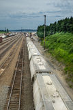 Seattle Interbay train yard train cars passing Stock Images