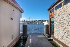 Seattle, Jeziorny Zrzeszeniowy Łódkowatych domów molo Obraz Royalty Free