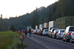 SEATTLE - JULY 6: Traffic is stopped for miles as. Blasting at Snoqualmie Pass stops traffic royalty free stock images