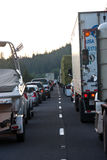 SEATTLE - JULY 6: Traffic is stopped for miles as. Blasting at Snoqualmie Pass stops traffic stock image