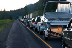 SEATTLE - JULY 6: Traffic is stopped for miles as. Blasting at Snoqualmie Pass stops traffic royalty free stock photo