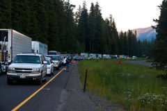 SEATTLE - JULY 6: Traffic is stopped for miles as. Blasting at Snoqualmie Pass stops traffic royalty free stock photos