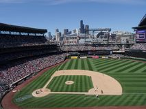 Mariners Pitcher steps forward to throw pitch to Cardinals batte Royalty Free Stock Photography
