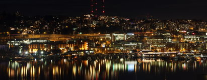 Seattle Lake Union night - sleepless in Seattle Stock Photos