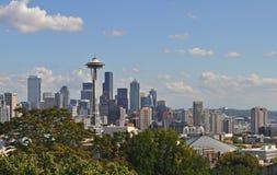 Seattle linia horyzontu od Kerry parka w Seattle, Waszyngton obraz royalty free