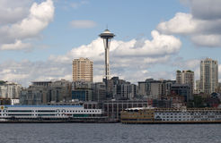 Seattle Living with Space Needle Centered. Is a depiction of the residential neighborhood apartments and condos that surround the Space Needle district in royalty free stock photography