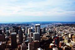 Seattle, los E.E.U.U., el 31 de agosto de 2018: Imagen panorámica de la ciudad de Seattle fotos de archivo