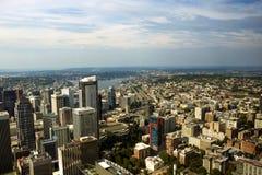 Seattle, los E.E.U.U., el 31 de agosto de 2018: Opinión panorámica aérea del paisaje urbano de Seattle fotografía de archivo