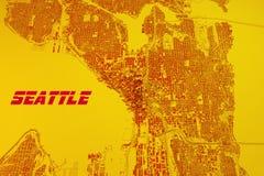 Seattle map, satellite view, United States Royalty Free Stock Photos