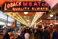 Seattle - marché publique de place colorée de Pike Photos stock