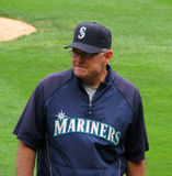 Seattle Mariner Baseball Coach. Walks to the dugout Royalty Free Stock Images