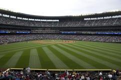 Seattle Mariners contra el juego 2015 de béisbol de los ángeles del la Fotografía de archivo