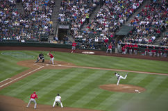 Seattle Mariners contra el juego 2015 de béisbol de los ángeles del la Imagen de archivo