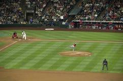 Seattle Mariners contra el juego 2015 de béisbol de los ángeles del la Foto de archivo