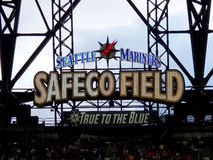 Seattle Mariners Safeco Field True to the Blue sign Royalty Free Stock Photo