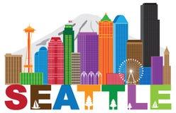 Seattle miasta linii horyzontu andText kolorów ilustracja Obraz Stock