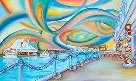 Seattle miasta obraz nowożytna ulica i ocean. ilustracja wektor