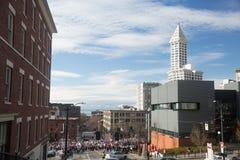 Seattle miljon kvinnors mars Fotografering för Bildbyråer