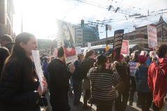 Seattle millón de marzos para mujer Imagenes de archivo